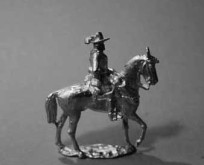 1630  A2 	Officer with hat or helmet with plume, trotting horse